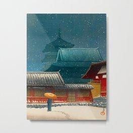 Vintage Japanese Woodblock Print Japanese Red Shinto Shrine Pagoda Winter Snow Metal Print