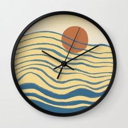 Abstraction landscape minimalist ocean mountain Japan culture Wall Clock