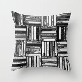 Music Cassette Stacks - Black and White - Something Nostalgic IV #decor #society6 #buyart Throw Pillow