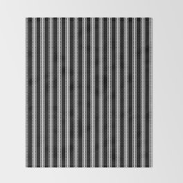 Black and White French Fleur de Lis in Mattress Ticking Stripe Throw Blanket