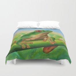 Green Treefrog Duvet Cover