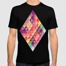 Abstract  MEDIUM Black Mens Fitted Tee