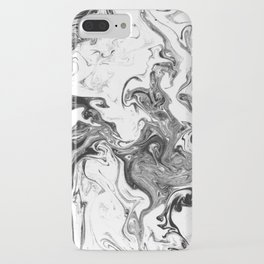 Suminagashi 1 black and white marble spilled ink ocean swirl watercolor painting iPhone Case