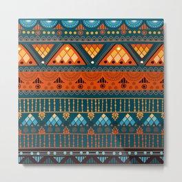 Orange & Blue Boho Pattern Metal Print