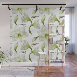 Hippeastrum White Flower Wall Mural