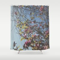 oakland Shower Curtains featuring My Flower Tree by Kacieeface Studio