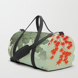 Vintage Japanese Woodblock Print Nara Park Deers Green Trees Red Japanese Maple Tree Duffle Bag