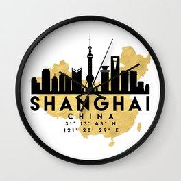 SHANGHAI CHINA SILHOUETTE SKYLINE MAP ART Wall Clock