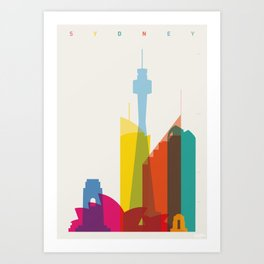 Shapes of Sydney. Accurate to scale Art Print