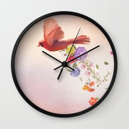 cardinal with flowers Wall Clock