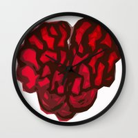 brain Wall Clocks featuring Brain by Myles Hunt