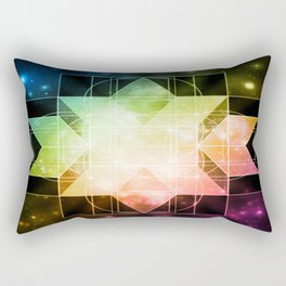 Rainbow Galaxy Sacred Geometry: Rhombic Hexecontahedron Rectangular Pillow