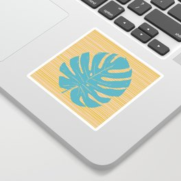 Monstera in Turquoise and Gold Sticker