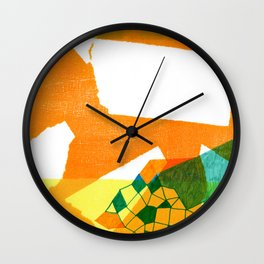 Orange abstract collage Wall Clock