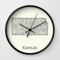 kansas Wall Clocks featuring Kansas map by David Zydd