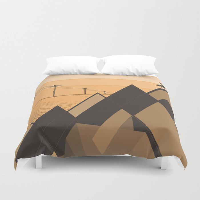 Little mountains and a car  Duvet Cover