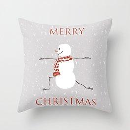 Snowman yoga - Warrior II Throw Pillow