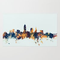 cleveland Area & Throw Rugs featuring Cleveland Ohio Skyline by artPause