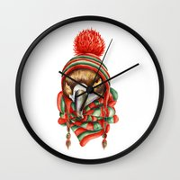 hawk Wall Clocks featuring Hawk by Julia Badeeva