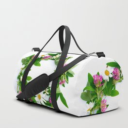 Meadow Flower Garland White Backround #decor #society6 #buyart Duffle Bag