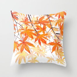 orange maple leaves watercolor Throw Pillow