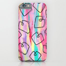 Heart Pattern Love Illustration Colorful nursery mixed media painting couple gift iPhone Case