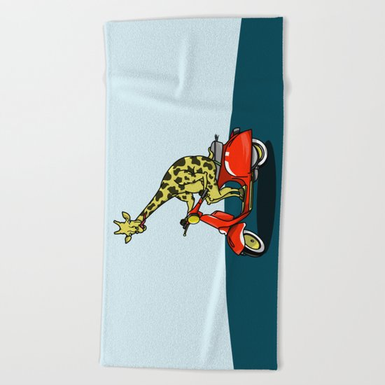 Giraffe riding a moped Beach Towel