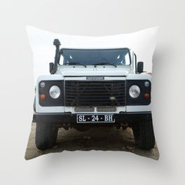 Classic Landrover Defender   classic car photography   oldtimer Throw Pillow