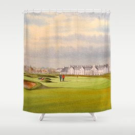 Carnoustie Golf Course Scotland With Clubhouse Shower Curtain