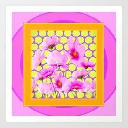 MODERN PINK COSMOS GARDEN ART Art Print