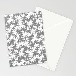 Greek Key pattern - Greek fret design , grey, white Stationery Cards