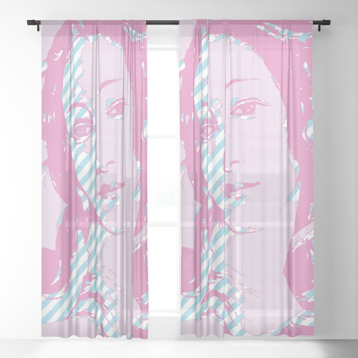 Rebirth of Venus - Pink & Cyan - Trans Pride! Sheer Curtain