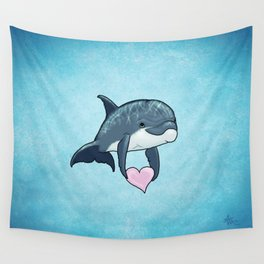 Love Ya! ~ Baby Dolphin by Amber Marine ~ Blue ~ (Copyright 2014) Wall Tapestry