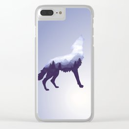 Wolf Double Exposure Surreal Wildlife Animal Wolves Gifts Clear iPhone Case