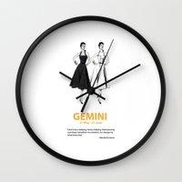 gemini Wall Clocks featuring Gemini by Cansu Girgin
