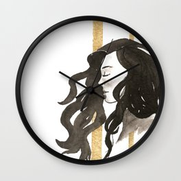 Feeling calm and peaceful, hair flowing in the golden wind Wall Clock