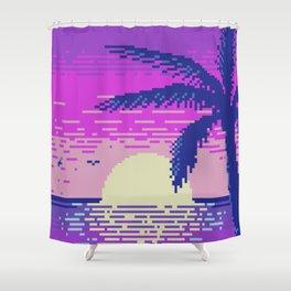 Pixel Sunset Shower Curtain