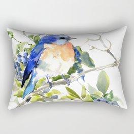 Bluebird and Blueberry Rectangular Pillow