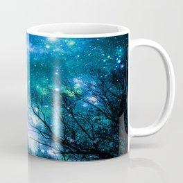 Black Trees Blue Turquoise Teal Space Coffee Mug