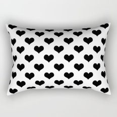 White Black Hearts Minimalist Rectangular Pillow