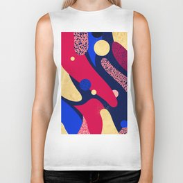 Psychedelic terrazzo galaxy blue night gold red Biker Tank