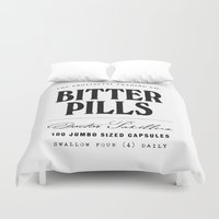 pills Duvet Covers featuring Bitter Pills by The Provincial Trading Co.