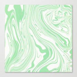 Pastel green white watercolor hand painted marble Canvas Print