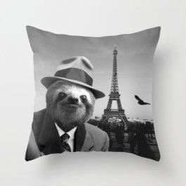 Gentleman Sloth in Paris Throw Pillow