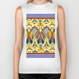 Decorative Yellow Art Nouveau Butterfly Maroon Designs Biker Tank