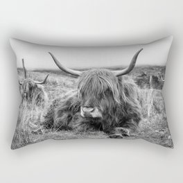 Highland Cow Sitting in a Field With Friends  Rectangular Pillow