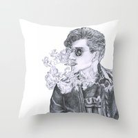 alex turner Throw Pillows featuring Alex Turner by Anja-Catharina