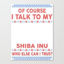 Shiba Inu Ugly Christmas Sweater Canvas Print