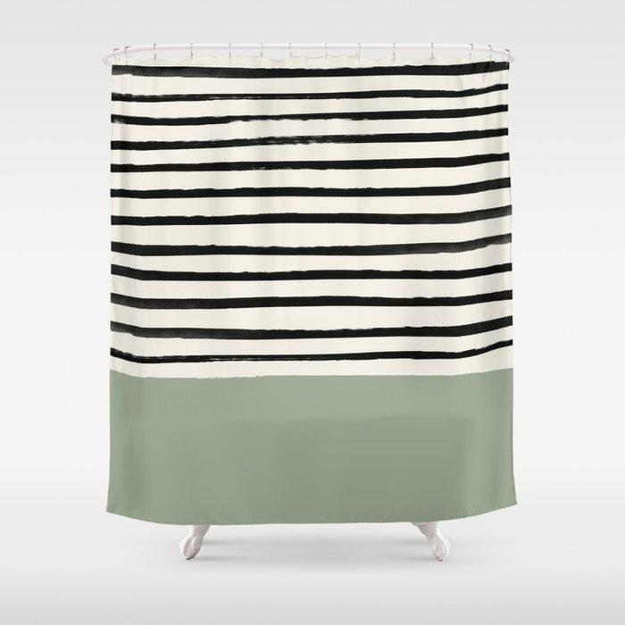 Sage Green x Stripes Duschvorhang