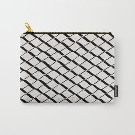Modern Diamond Lattice 2 Black on Light Gray Carry-All Pouch